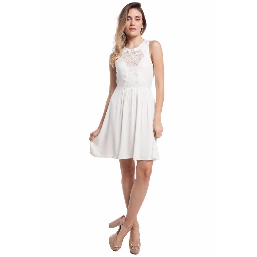 Vestido com detalhe de renda - Off White