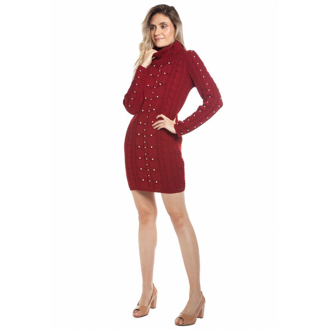 Vestido com tranças e pérolas - Vermelho