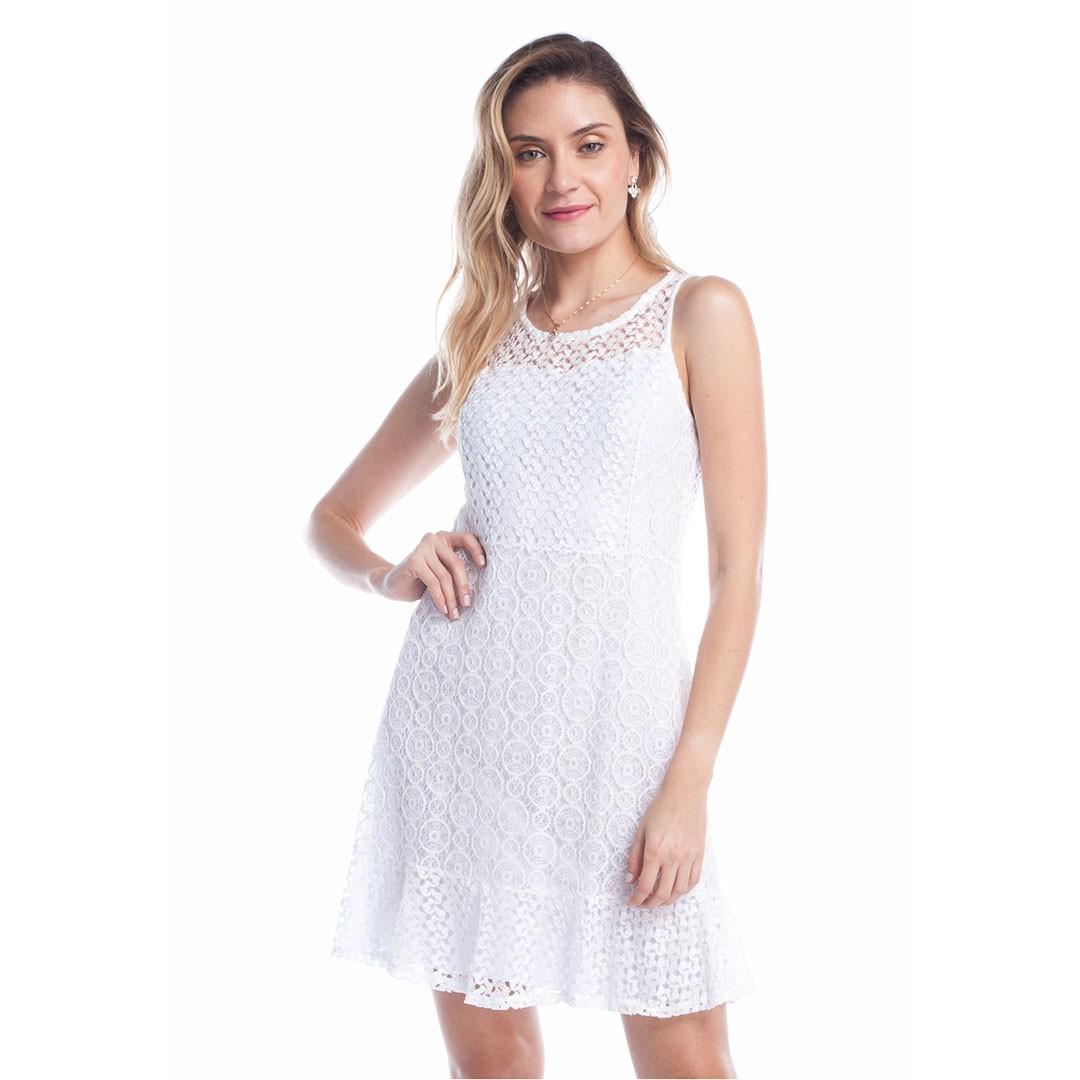 Vestido Curto Rendado - Branco