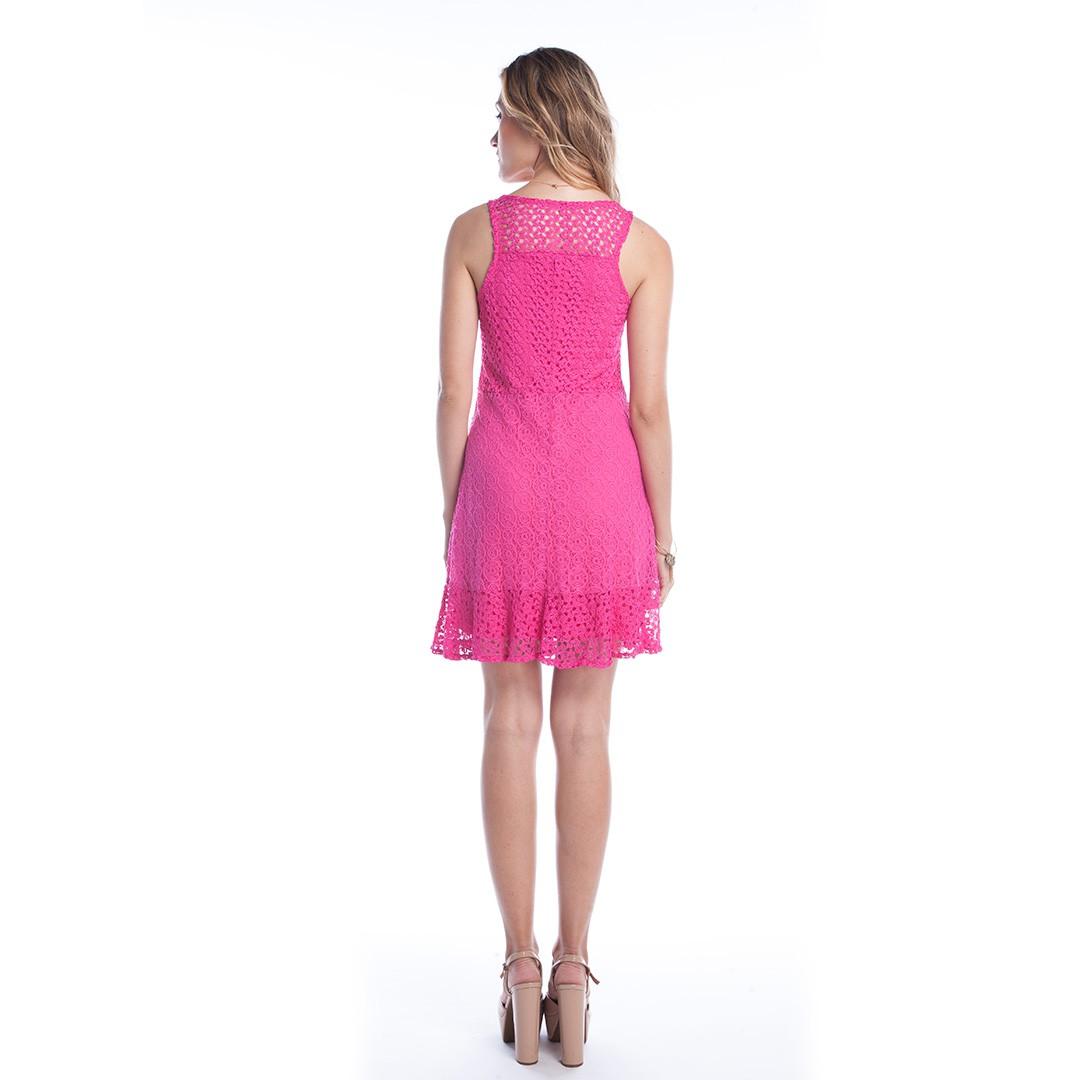 Vestido Curto Rendado - Rosa