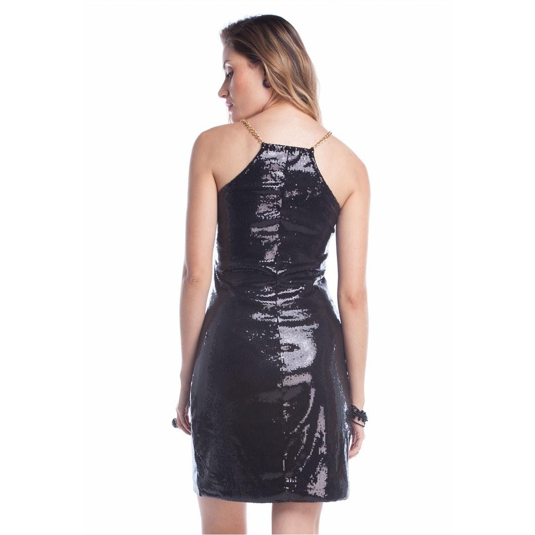 Vestido de Paetê Corrente nas Alças - Preto
