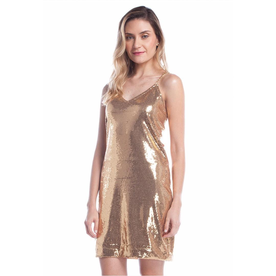 Vestido de Paetê Corrente nas Alças - Dourado