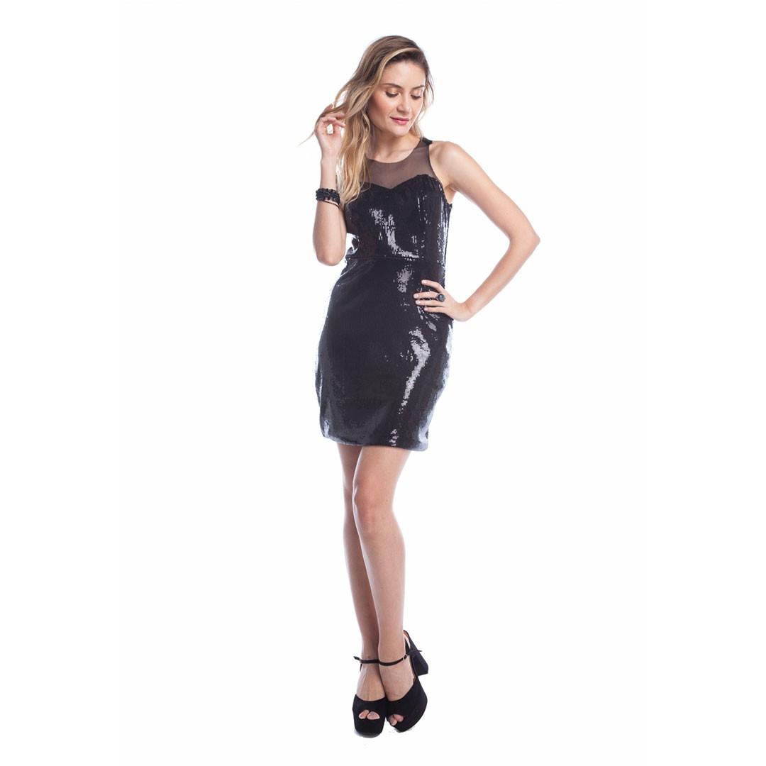 Vestido de Paetê detalhe Tule - Preto