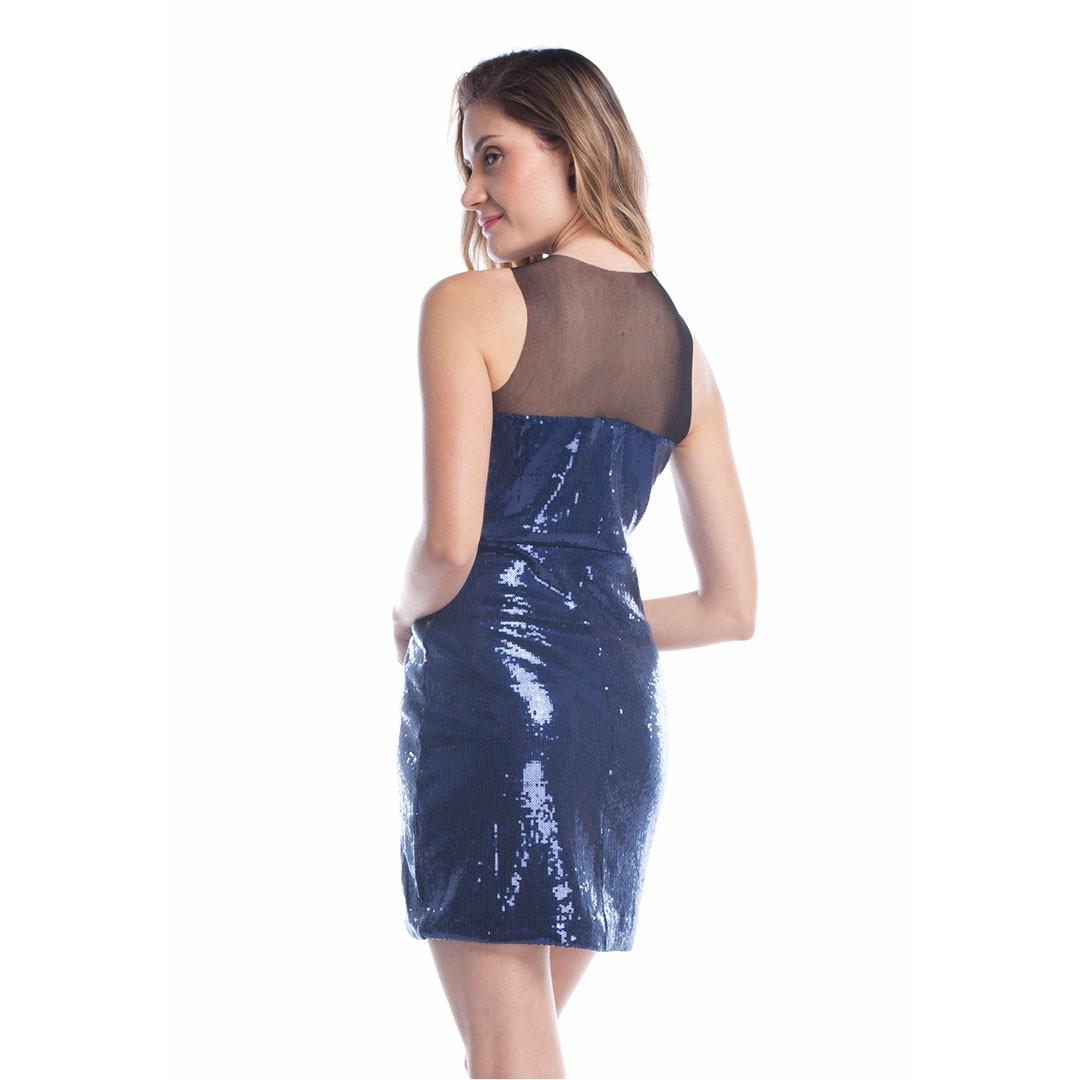Vestido de Paetê detalhe Tule - Marinho