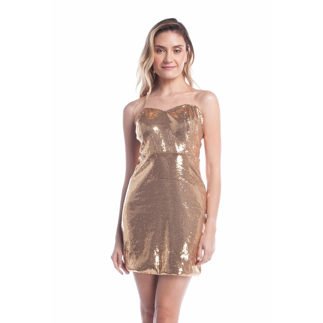 Vestido de Paetê detalhe Tule - Dourado