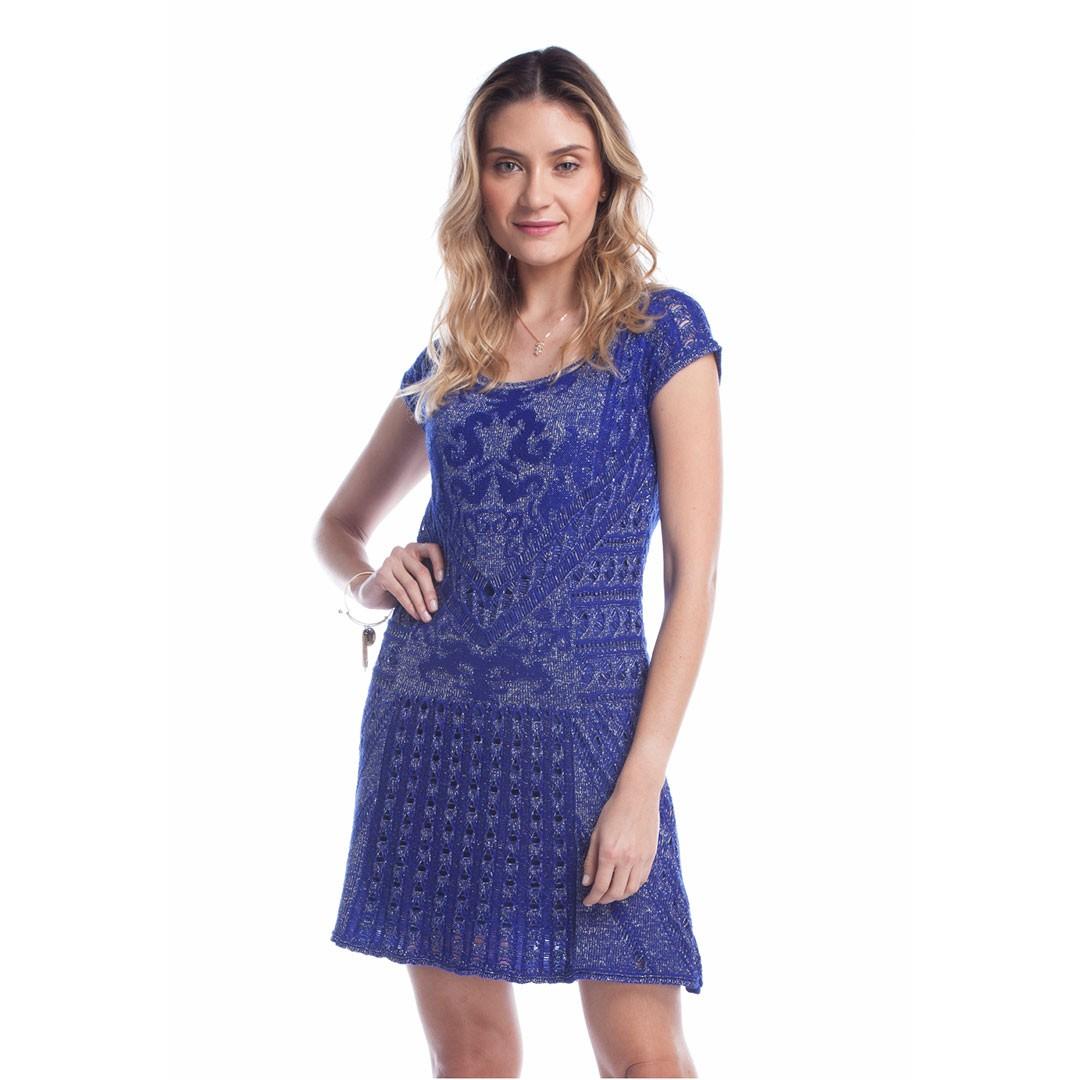 Vestido de Tricot Relevo Arabesco - Azul