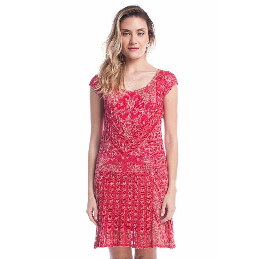 Vestido de Tricot Relevo Arabesco - Vermelho