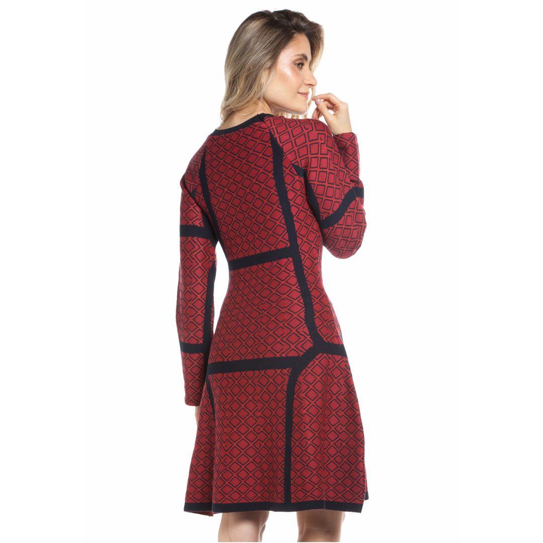Vestido em jacard raglan estampa losangos - Vermelho