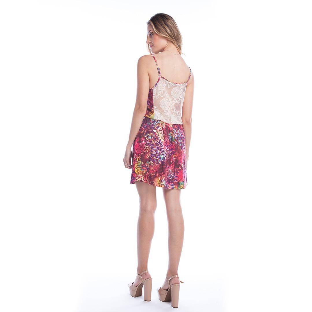 Vestido estampado ajustado na cintura - Rosa