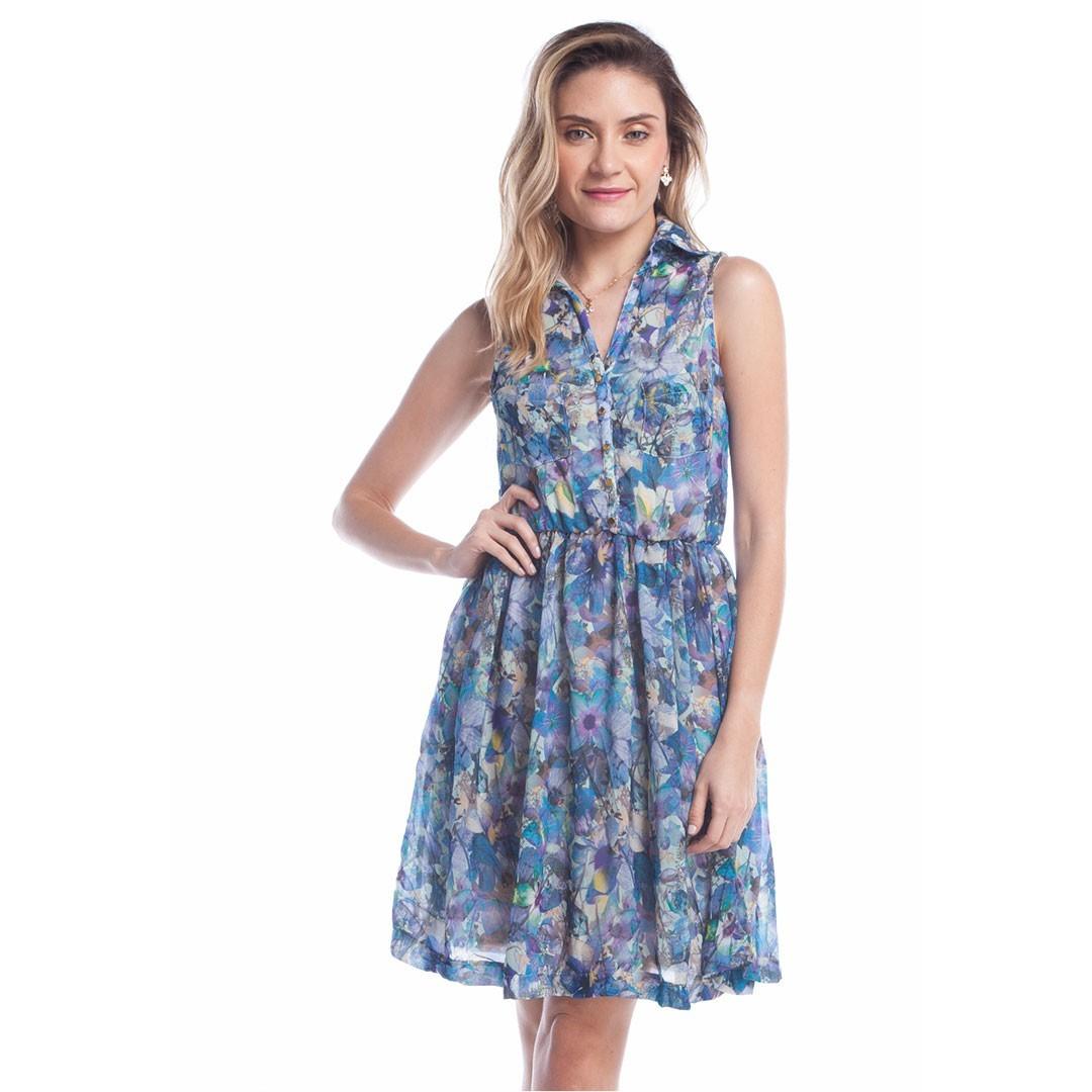 Vestido  Estampado - Azul