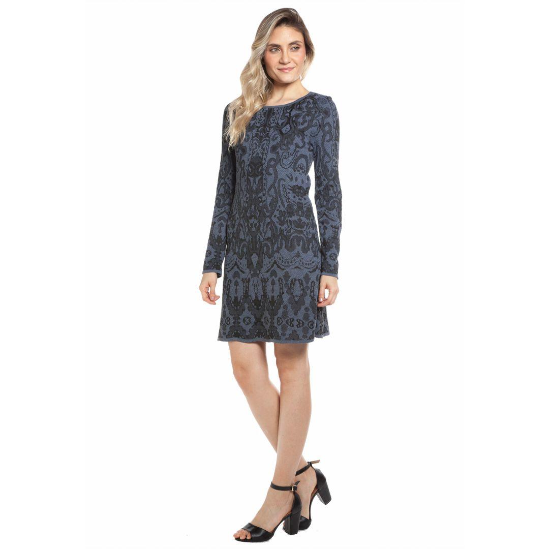 Vestido jacard arabesco - Cinza
