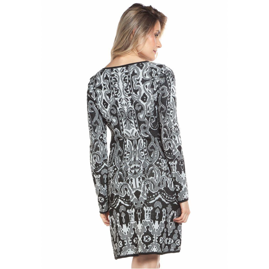 Vestido jacard arabesco - Preto