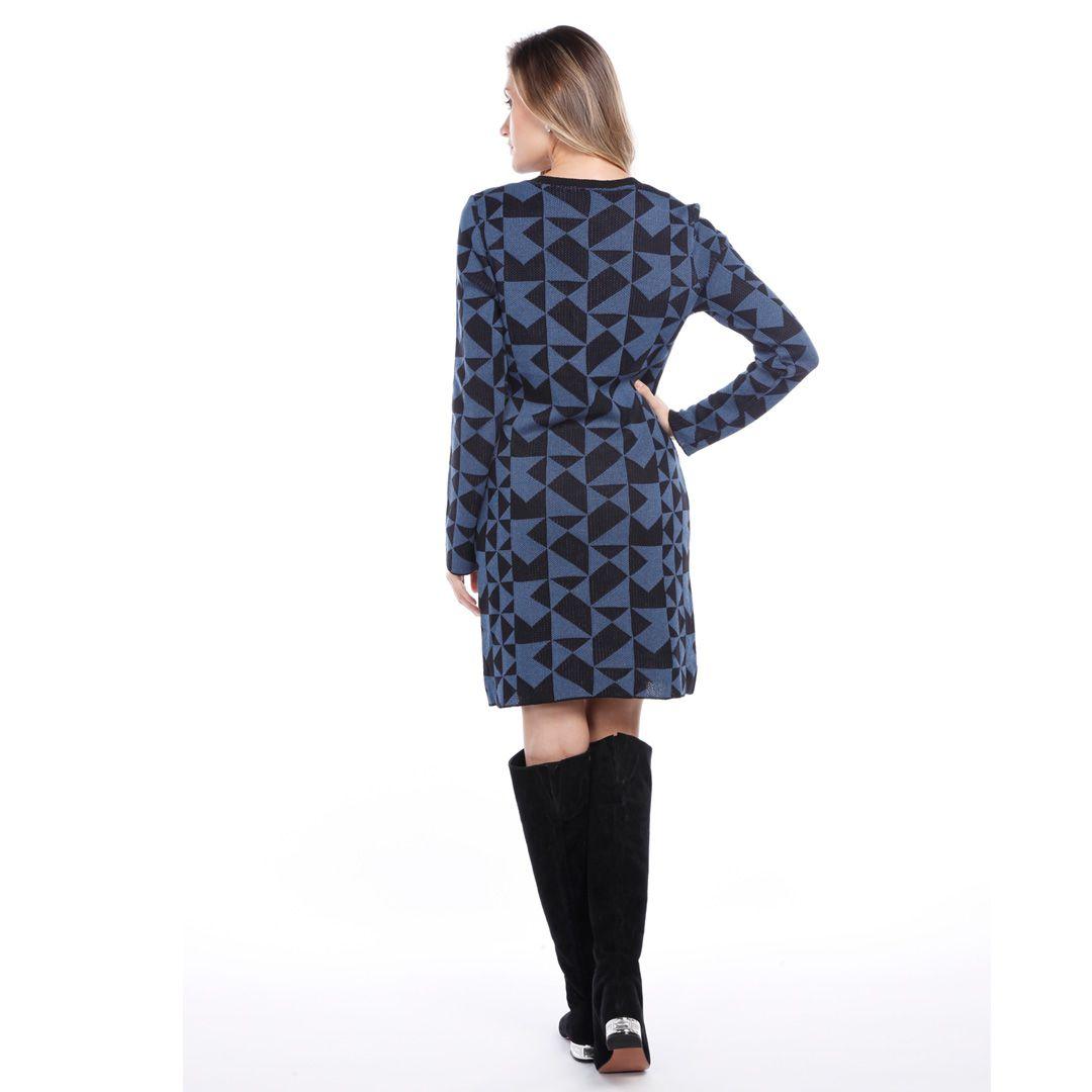 Vestido jacard quadriculado - Azul