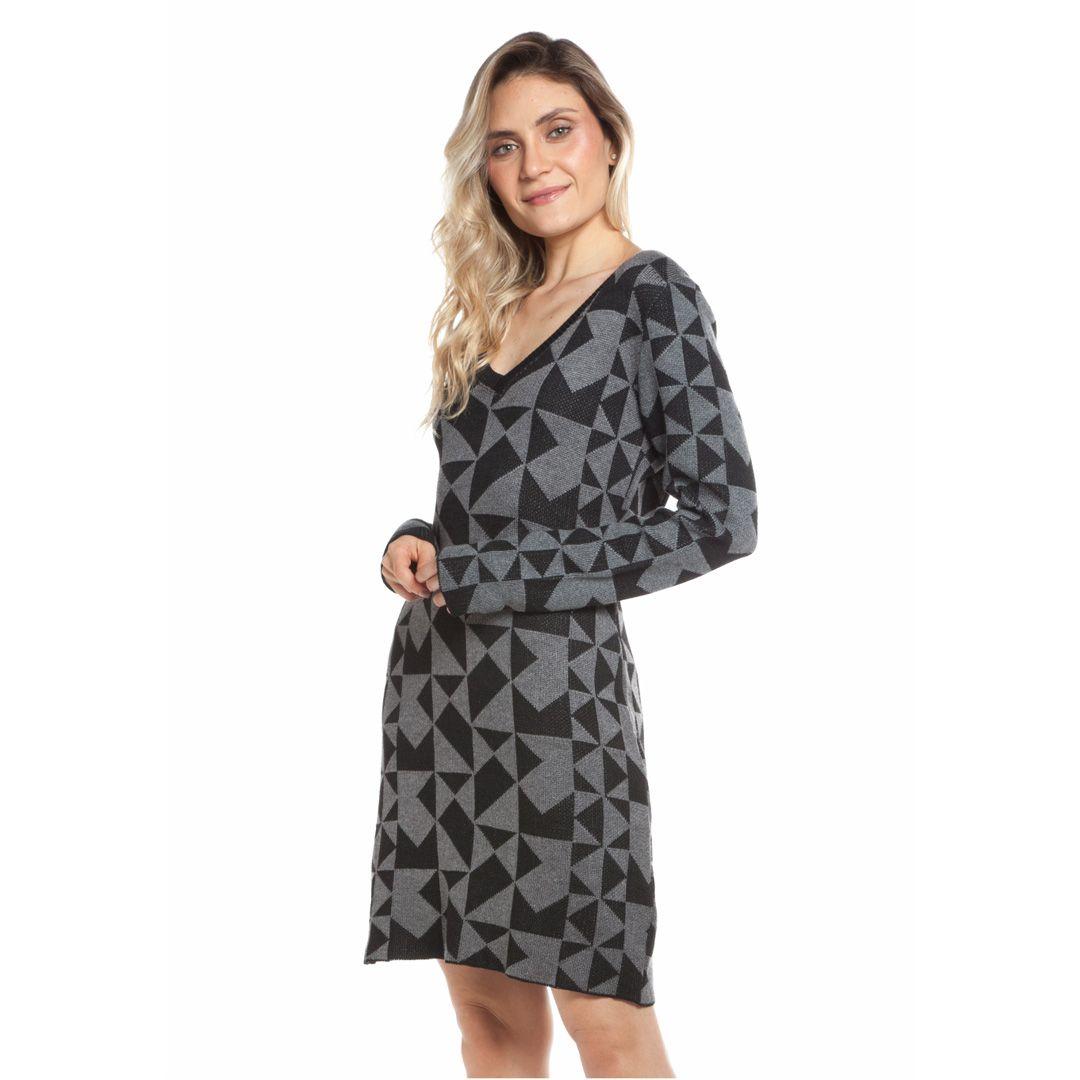 Vestido jacard quadriculado - Preto