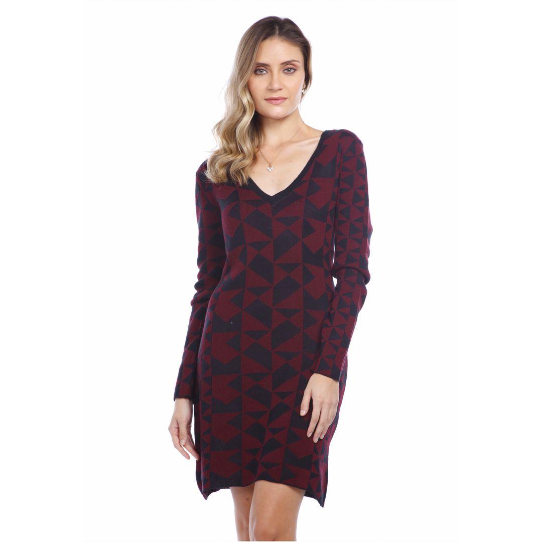 Vestido jacard quadriculado - Vinho