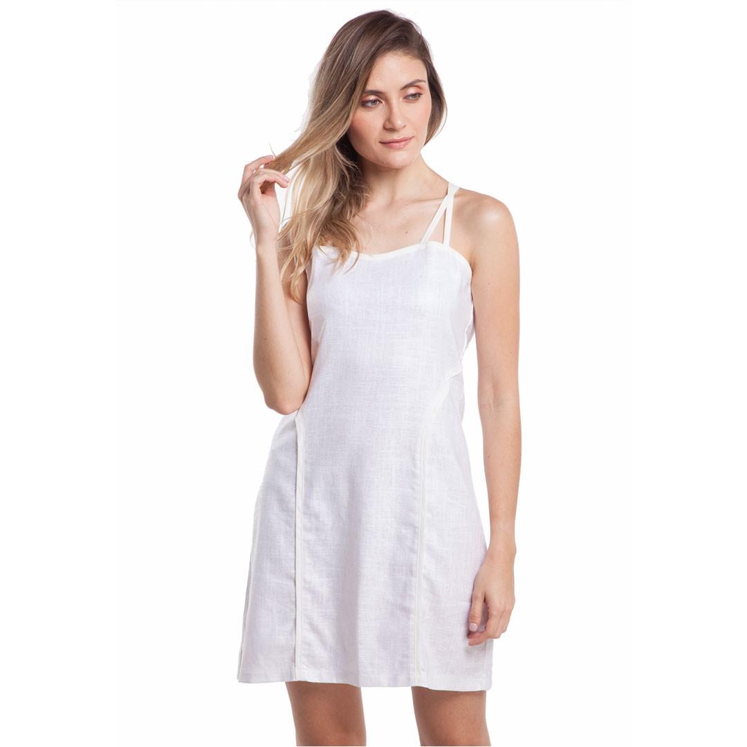 Vestido Linho Encerado - Branco