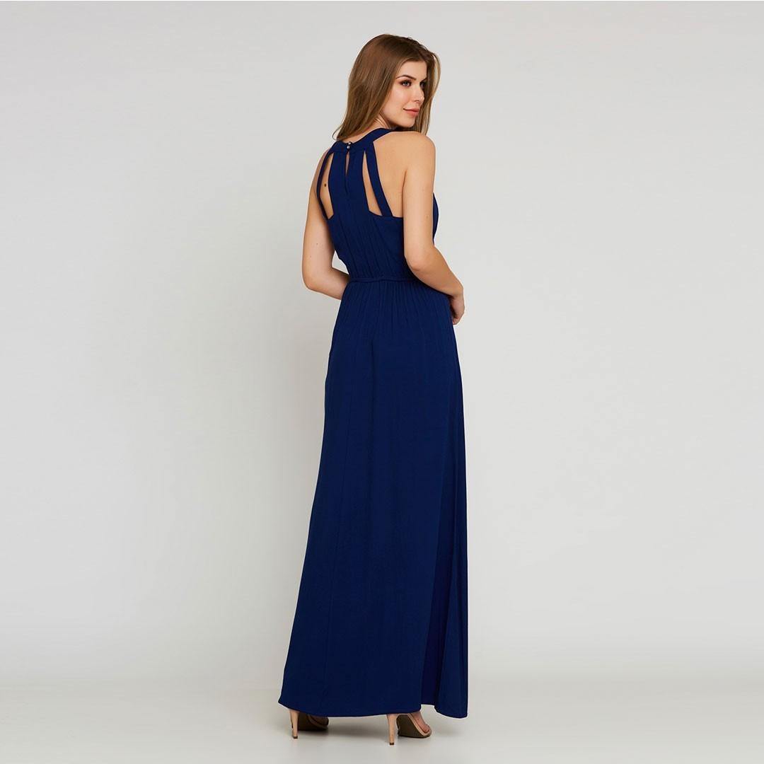Vestido Longo Crepe - Azul