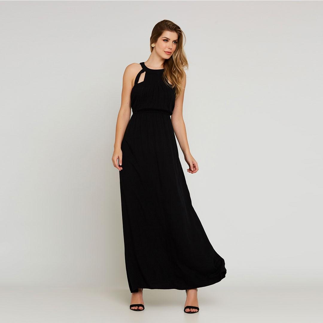 Vestido Longo Crepe - Preto