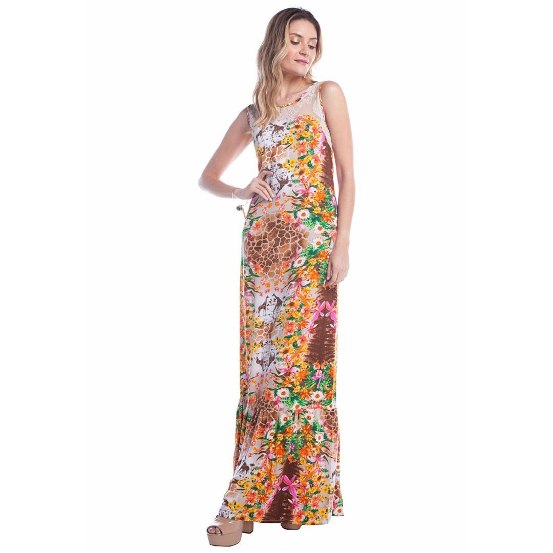 Vestido Longo Estampado com Renda - Laranja