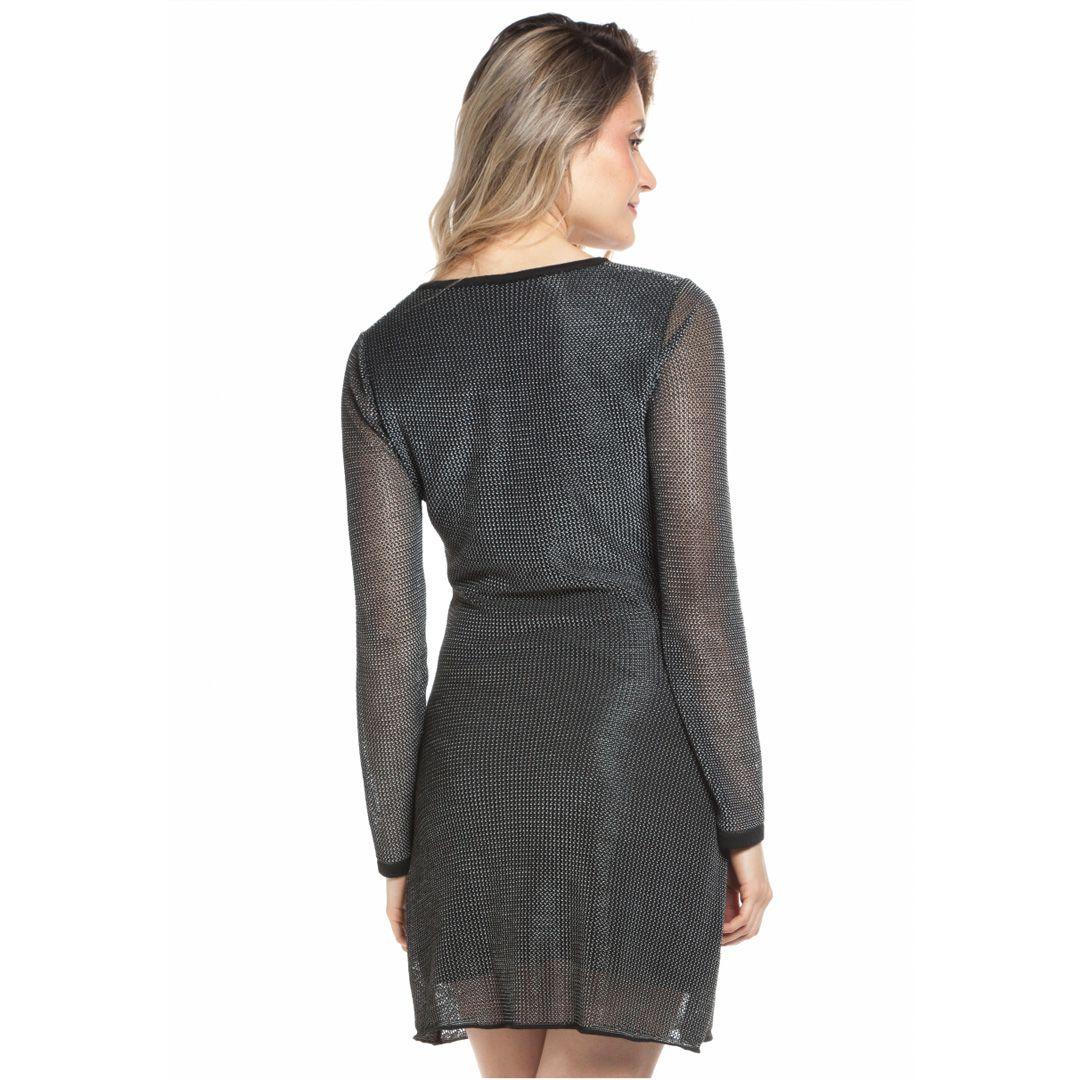 Vestido manga longa tricot rendado - Preto