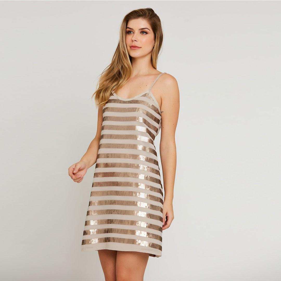 Vestido Paetê de Alças - Dourado