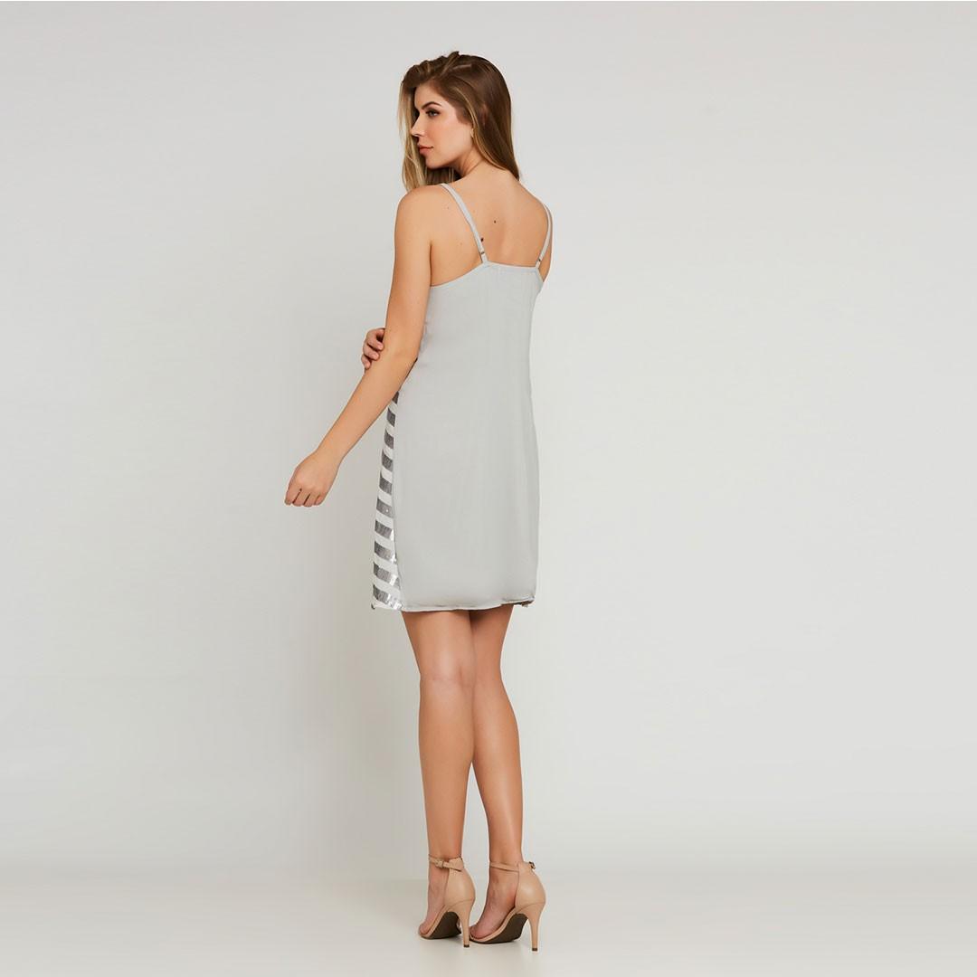 Vestido Paetê Amplo de Alças - Prata