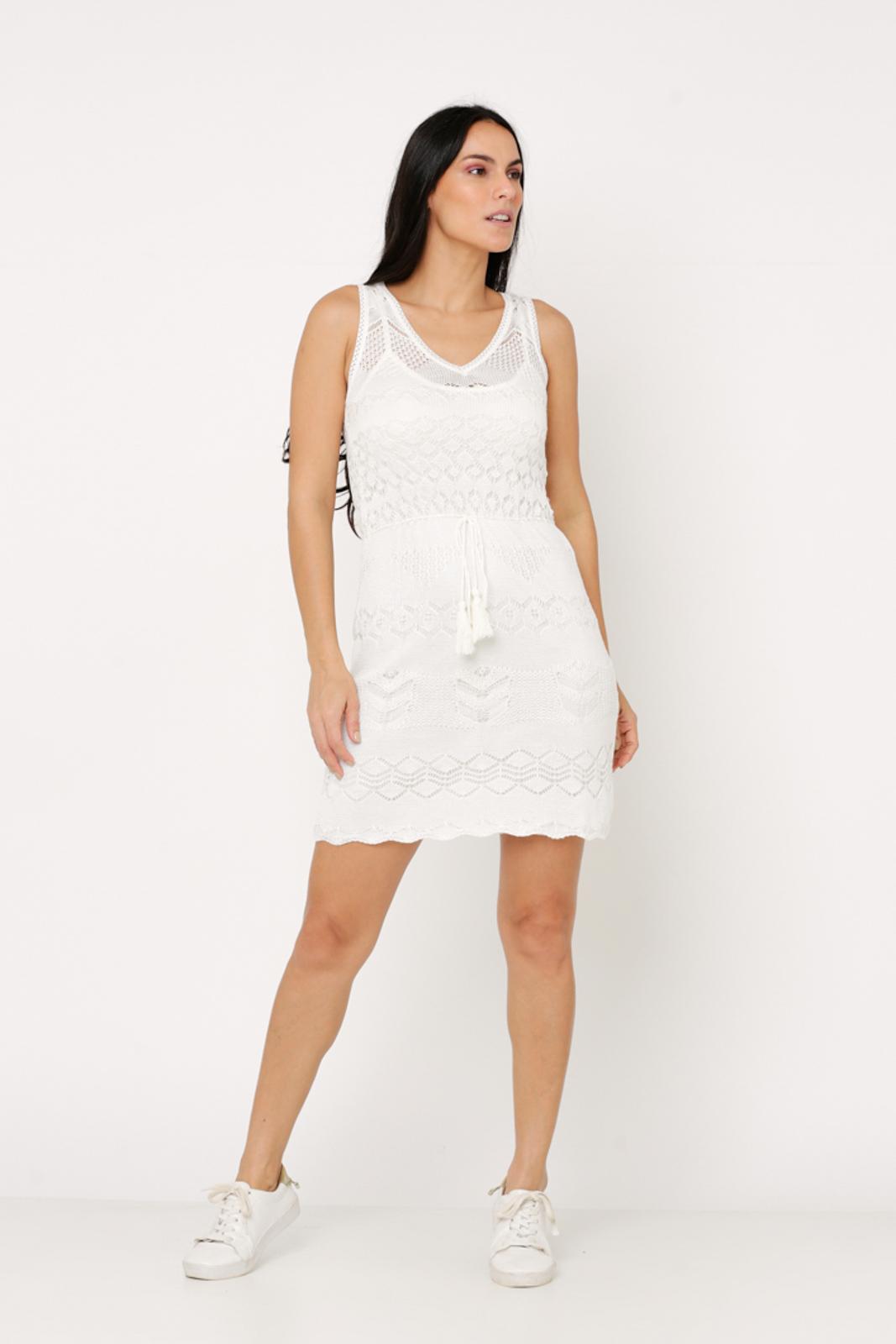 Vestido Ralm Tricot curto rendado - Off White