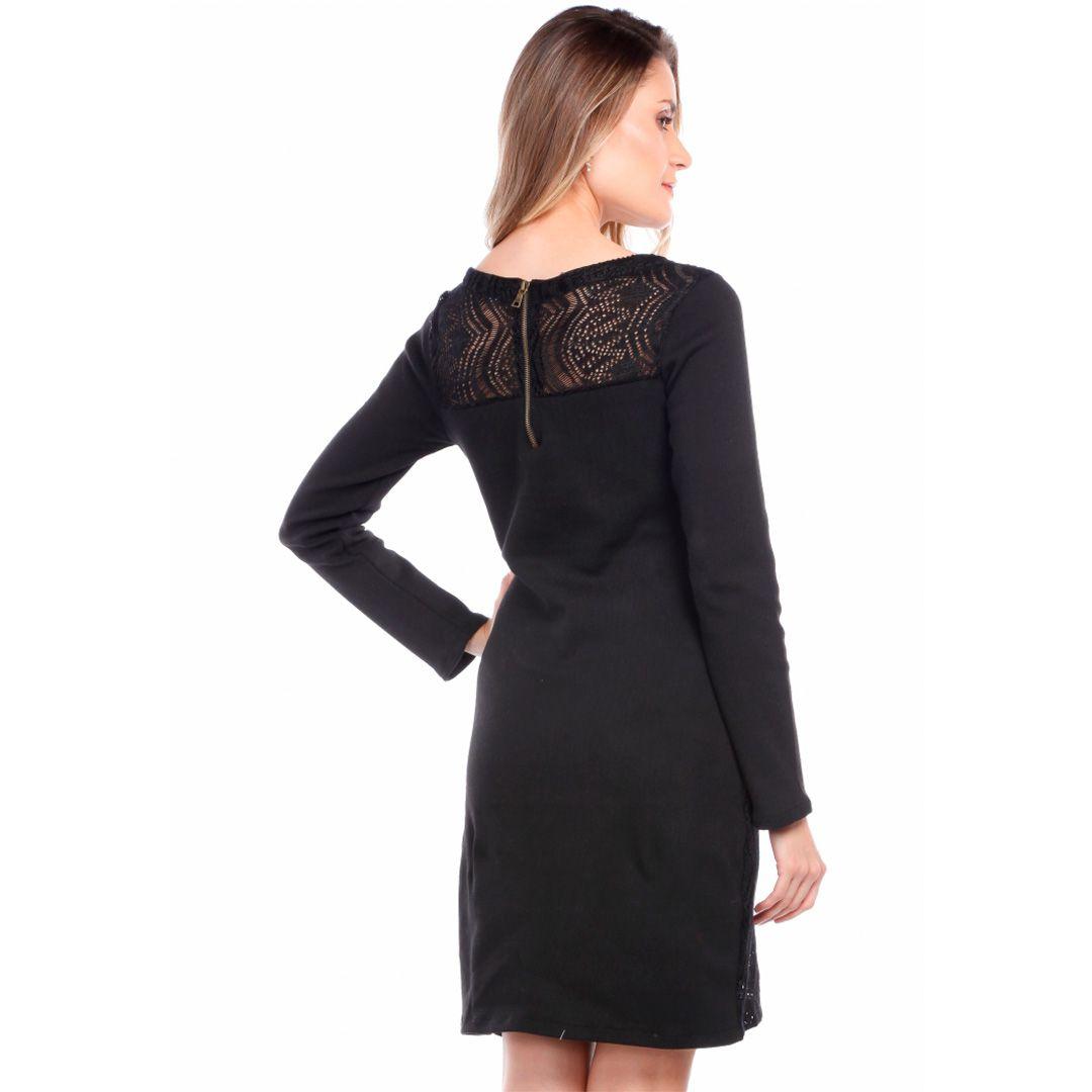 Vestido rendado frente - Preto