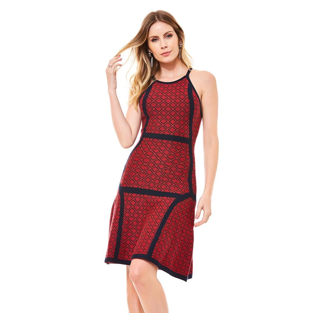Vestido Tricot  Jacard - Vermelho