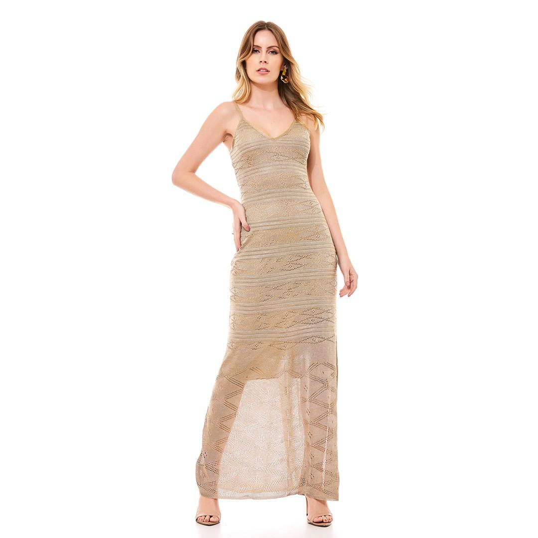 Vestido Tricot Longo Rendado - Dourado