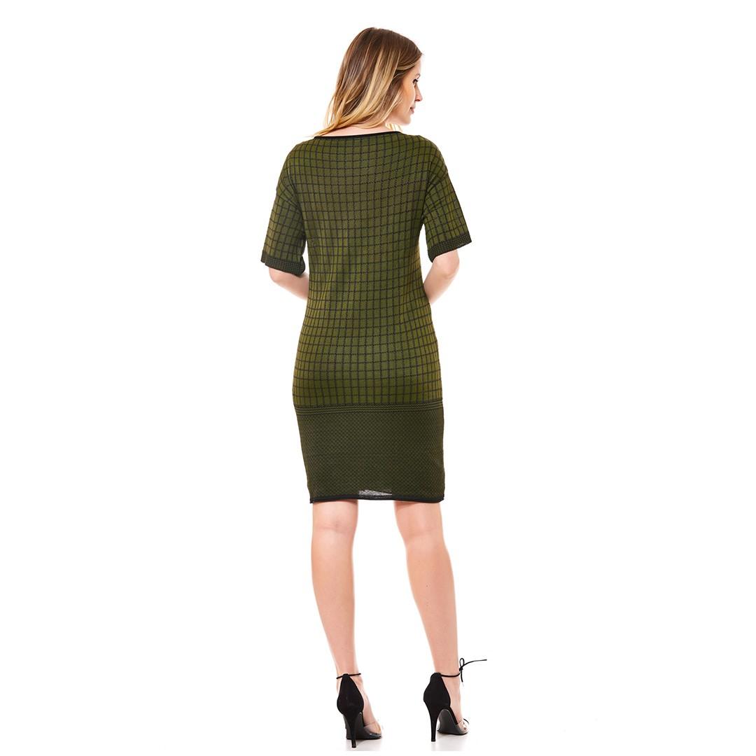 Vestido Tricot  Manga Curta Jacard - Verde