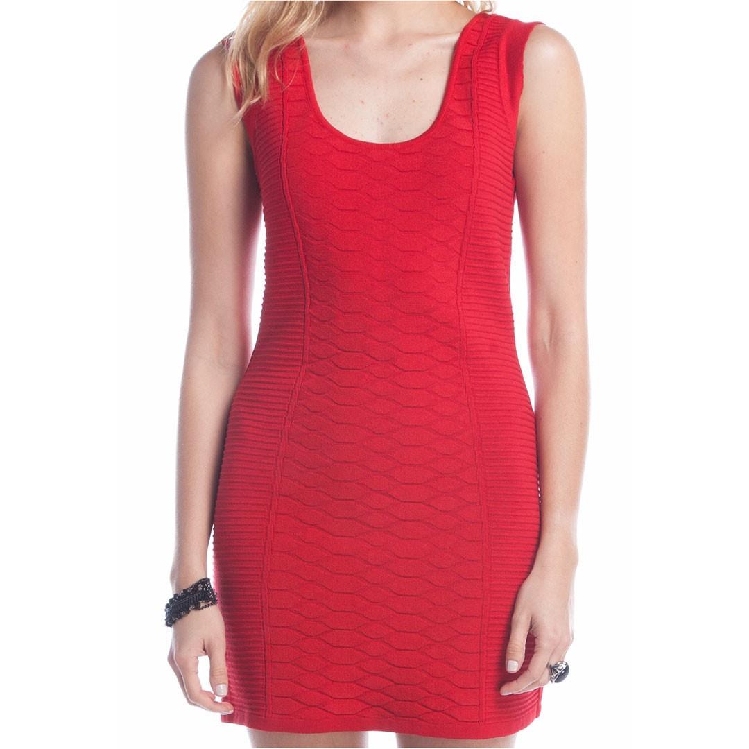 Vestido Tricot Ralm Nervuras - Vermelho