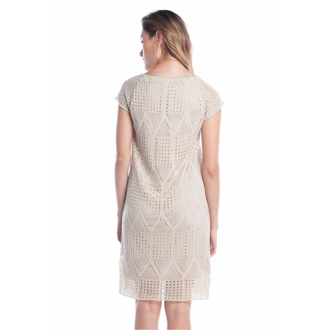 Vestido Tricot Ralm Rendado - Bege
