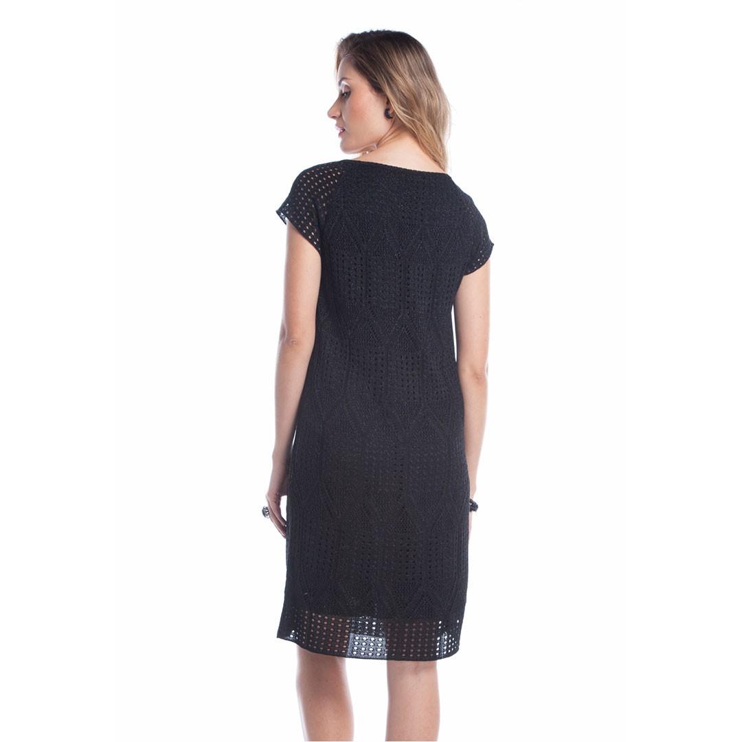 Vestido Tricot Ralm Rendado - Preto