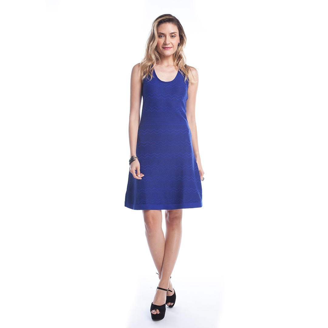 Vestido Tricot Relevo em Zig Zag - Azul