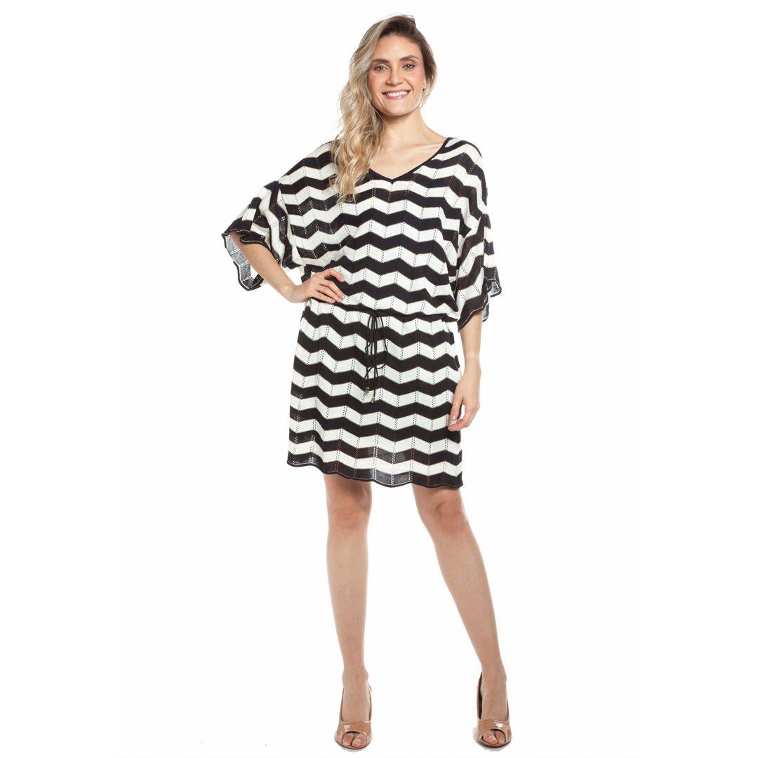 Vestido zig zag - Preto