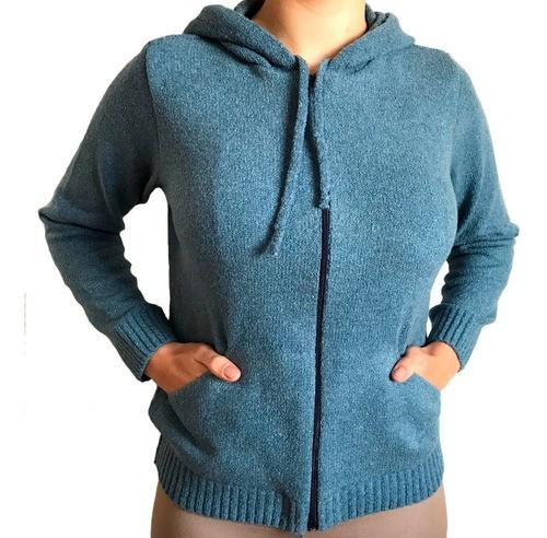 Blusa De Frio Feminina De Lã Com Capuz E Ziper