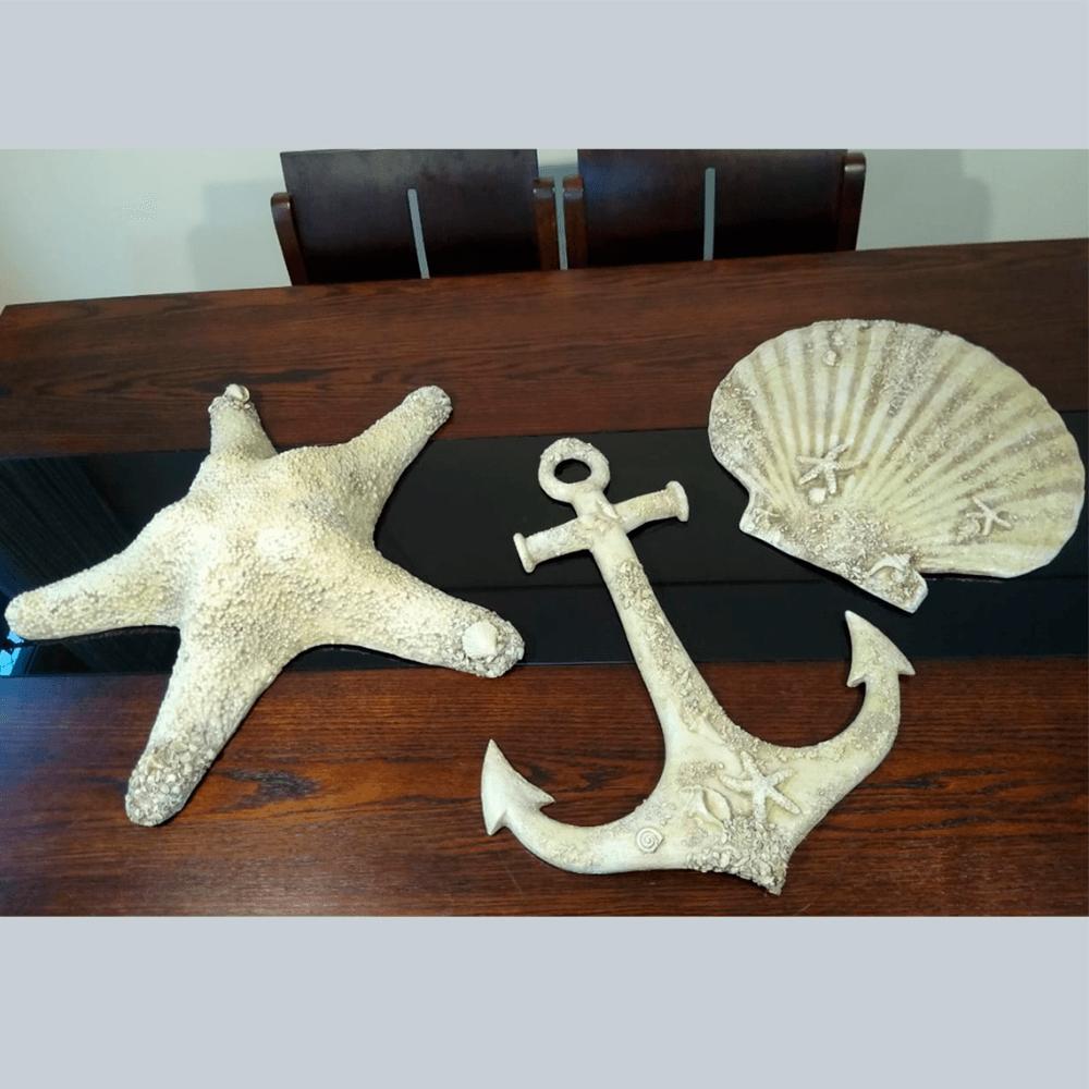 Decoração Casa De Praia Trio Ancora Concha E Estrela Resina