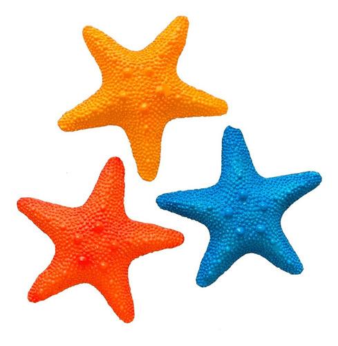 Estrelas Marinhas Trio Coloridas Casa De Praia Resina 22cm