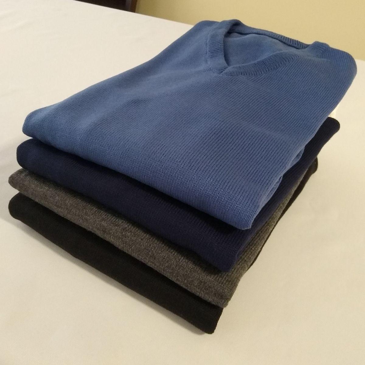 Sueter Masculino Blusa De Lã Gola V Plus Size (02 Unidades)