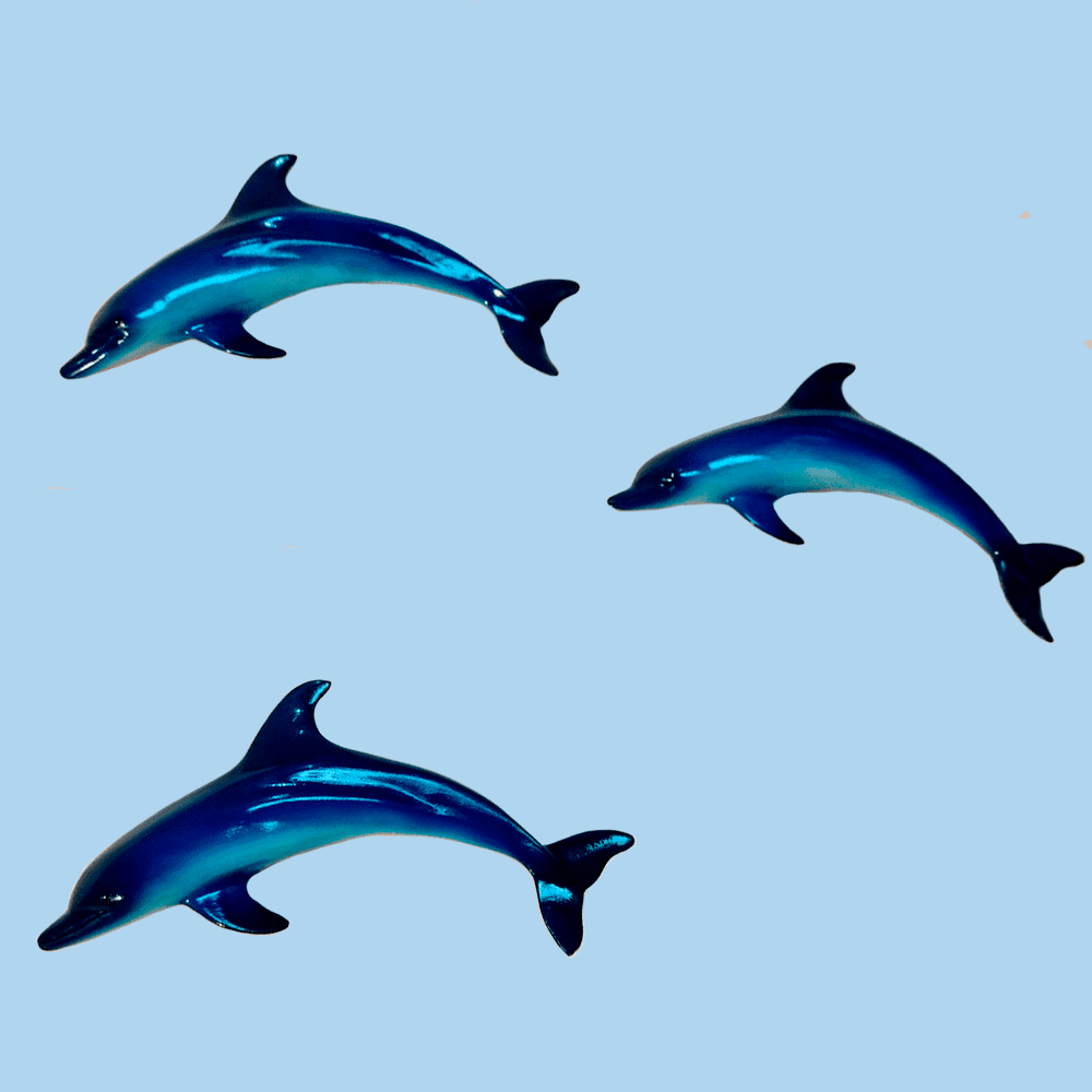 Trio De Golfinho Peixes Para Decoração De Parede Resina 28cm