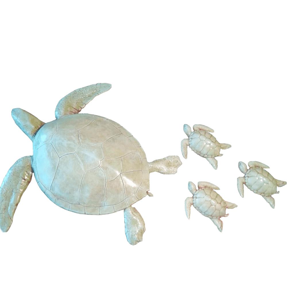 Trio De Tartarugas Decoração Casa De Praia Mar Resina 20x16