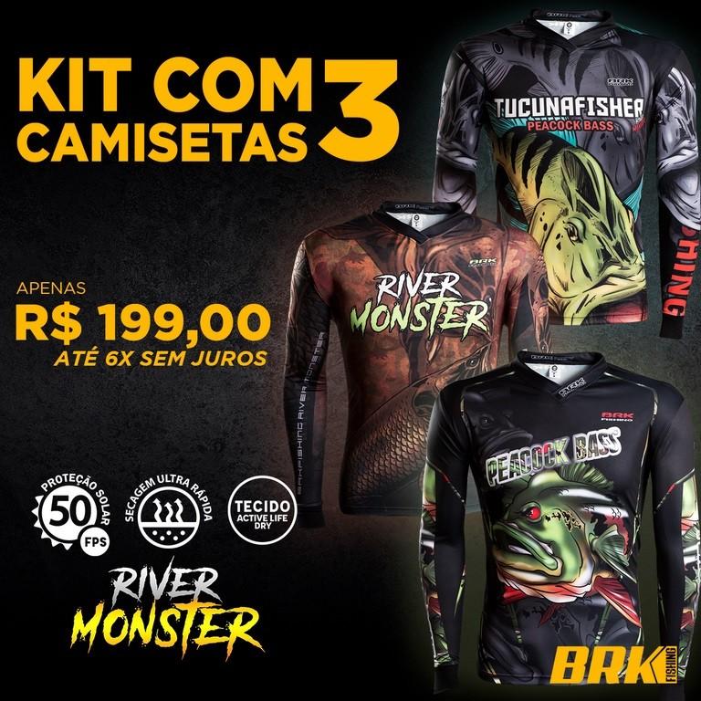 3 Camisetas de Pesca Brk Linha River Monster (Kit 001)