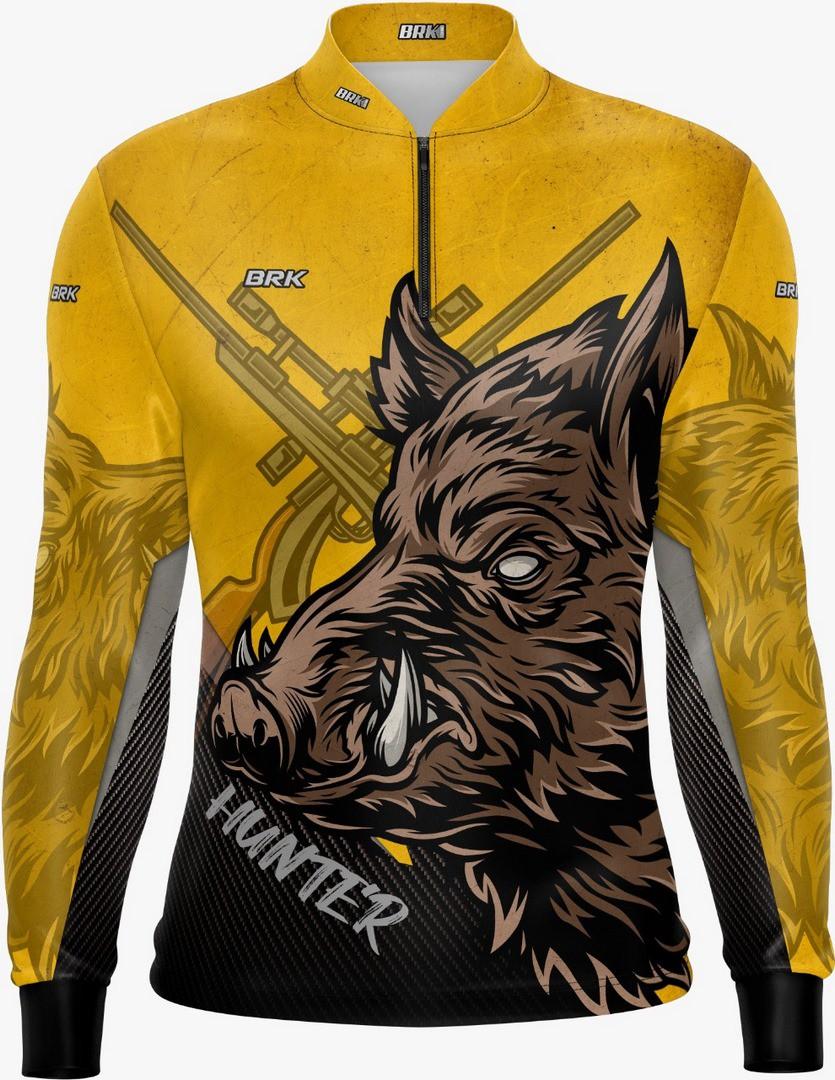 Camisa de Caça Brk Javali Amarelo-Preto com FPU 50+