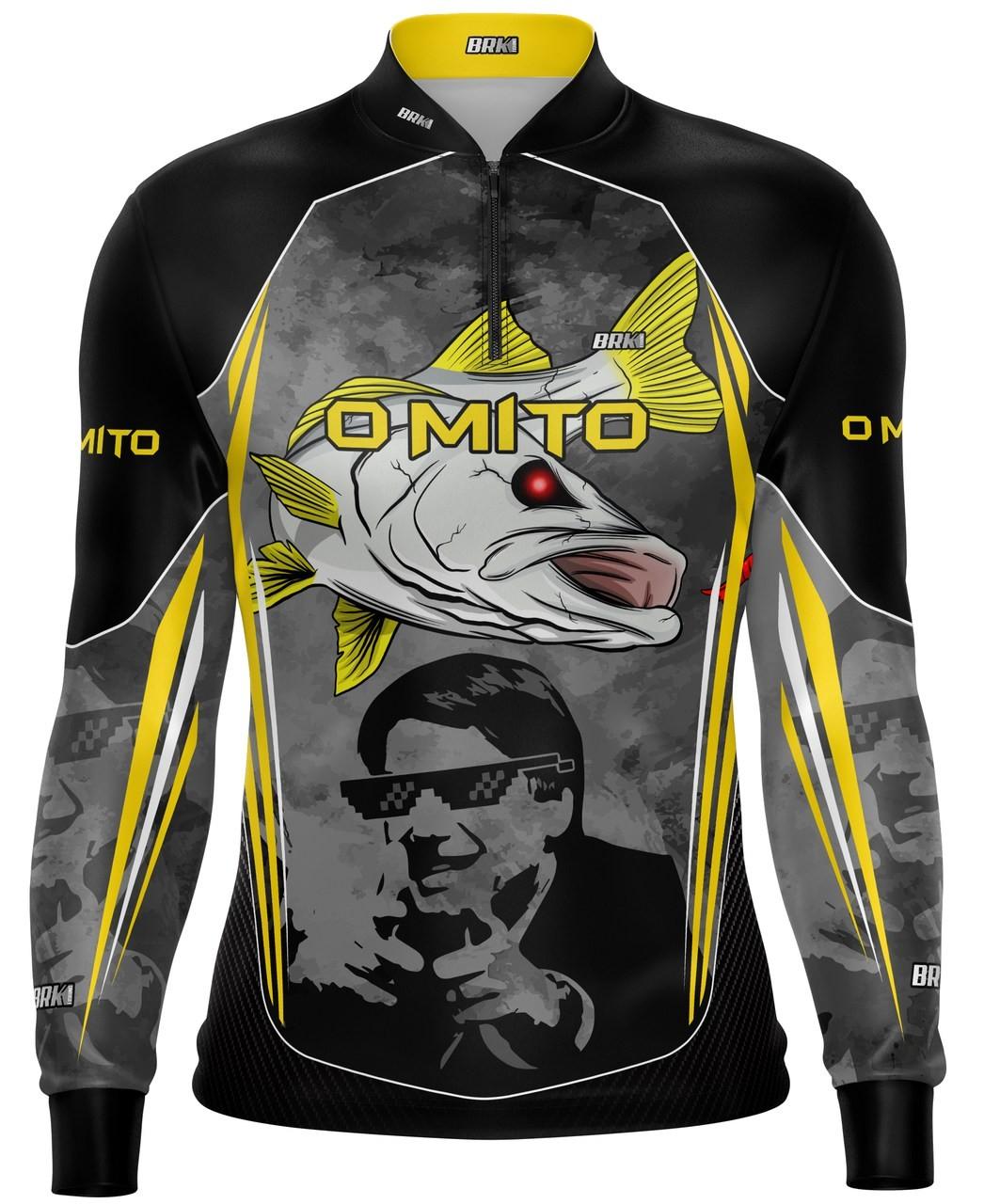 Camisa de Pesca Brk Bolsonaro o Mito Robalo Preta com fpu 50+
