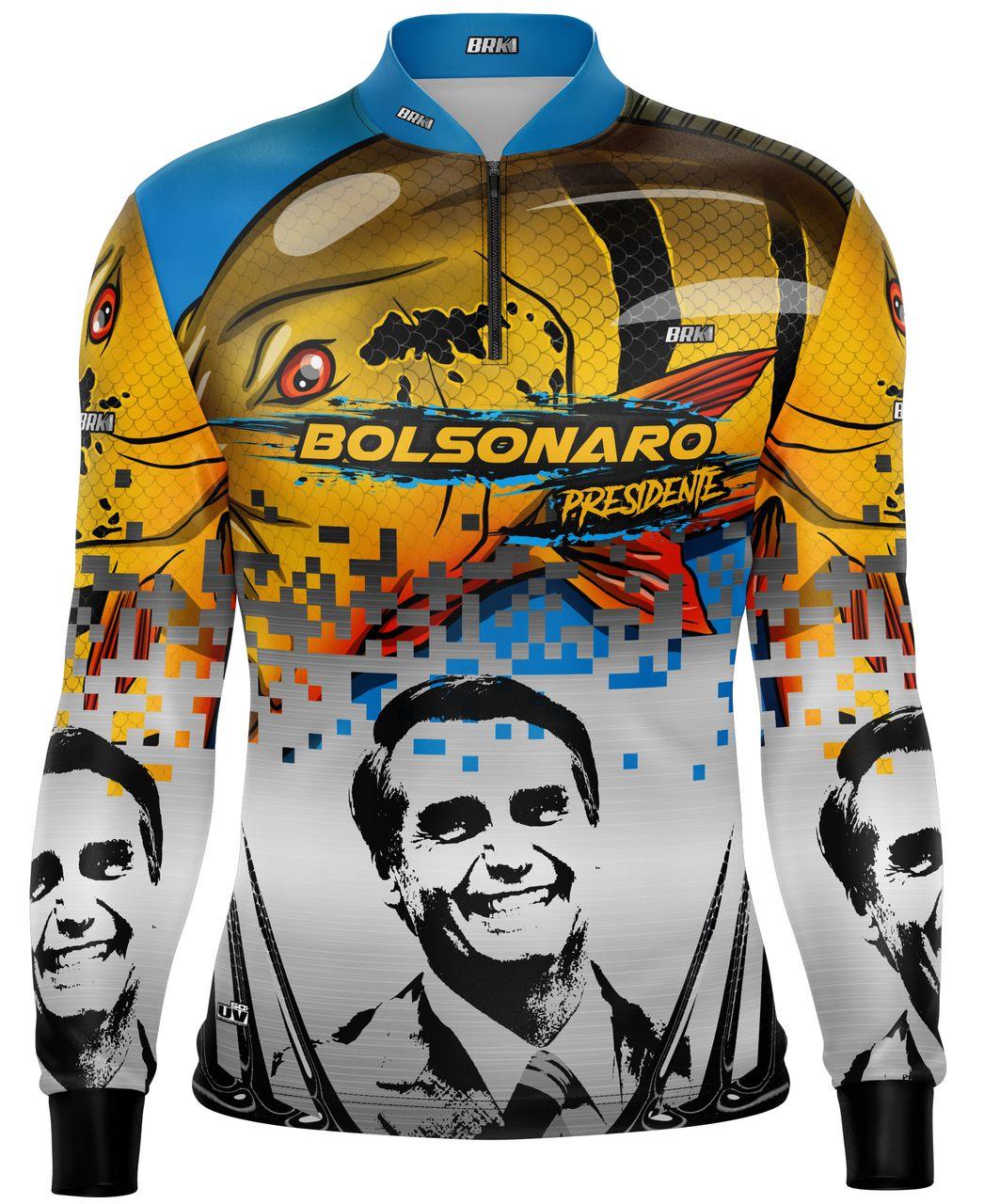 Camisa de Pesca Brk Bolsonaro o Mito Tucunaré Açu com fpu 50+