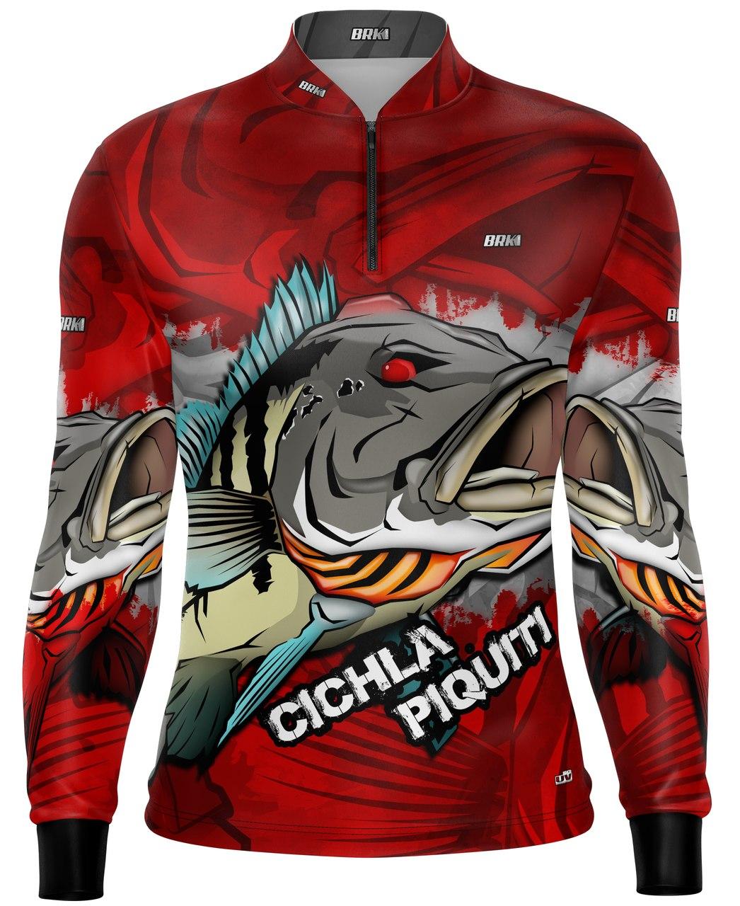 Camisa de Pesca Brk Cichla Piquiti com Proteção UV 50+
