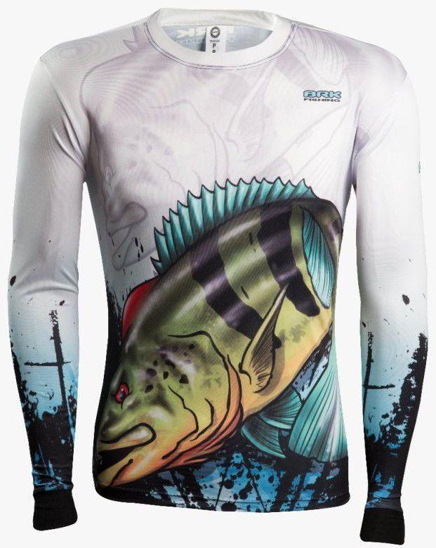Camisa de Pesca Brk Combat Fish Tucunaré Azul 2.0 com FPU 50+