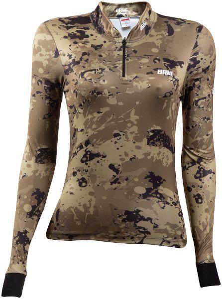 Camisa de Pesca Brk Feminina Camuflada Caqui com FPU 50+