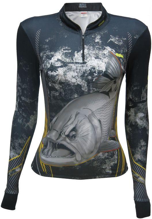 Camisa de Pesca Brk Feminina Dourado Black com FPU 50+
